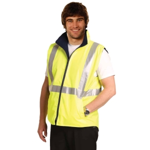 HI-VIS REVERSIBLE SAFETY VEST WITH 3M TAPES • 180GSM - 100%POLYESTER, 300D OXFORD PU COATED • BREATHABILITY: 3000MM, WATER PROOF: 8000MM • REVERSIBLE • POLAR FLEECE LINING • H PATTERN, 3M SCOTCHLITE REFLECTIVE TAPES FOR NIGHT VISIBILITY • CONFORMS TO AS/NZS 4602.1:2011 CLASS D/N, DAY & NIGHT USE SAFETY WEAR. • (PART OF SW20A THREE-IN-ONE SAFETY JACKET SET)